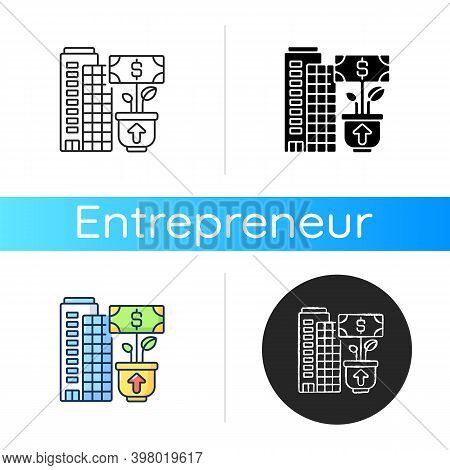Company Growth Icon. Linear Black And Rgb Color Styles. Successful Business Development, Profitable