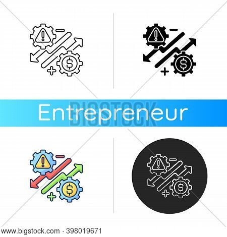 Business Risks Icon. Linear Black And Rgb Color Styles. Entrepreneurship Benefits And Dangers, Stock