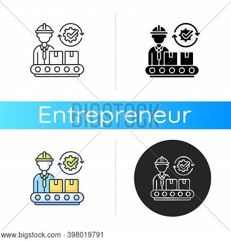 Goods Manufacturing Icon. Linear Black And Rgb Color Styles. Industrial Entrepreneurship, Production