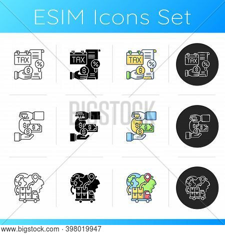 Business Icons Set. Linear, Black And Rgb Color Styles. Successful Entrepreneurship. Legal And Custo