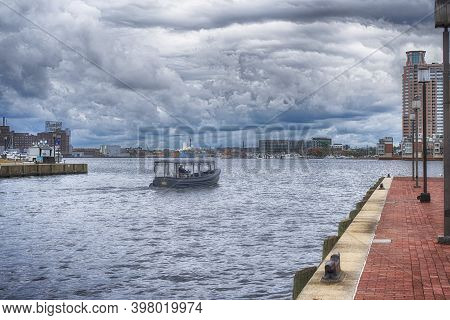 Baltimore, Maryland.  September 30, 2019. A Taxi Transport Across The Inner Harbor In Baltimore Mary