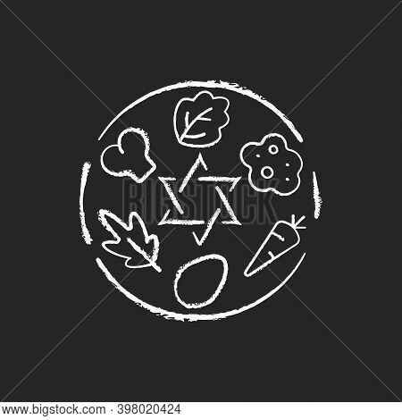 Passover Seder Plate Chalk White Icon On Black Background. Food Platter. Symbolic Foods. Six Ritual