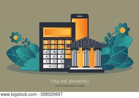 Internet Banking, Online Mobile Banking. Flat Vector Illustration