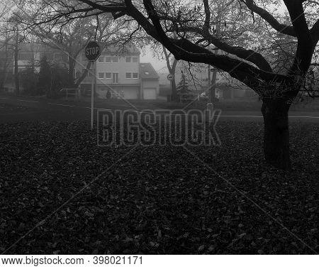Chomutov, Czech Republic - November 27, 14:59 - Blatenska Street Named Zatisi In Foggy Autumn
