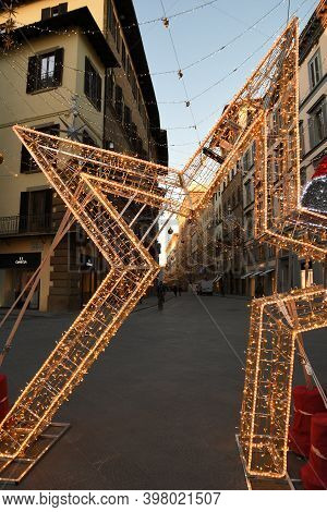 Florence, 23 November 2020: Christmas Decoration In The Center Of Florence. Via Tornabuoni, The Fash