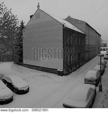 Chomutov, Czech Republic - December 01, 2020, 09.03 - Snow In Lidicka Street