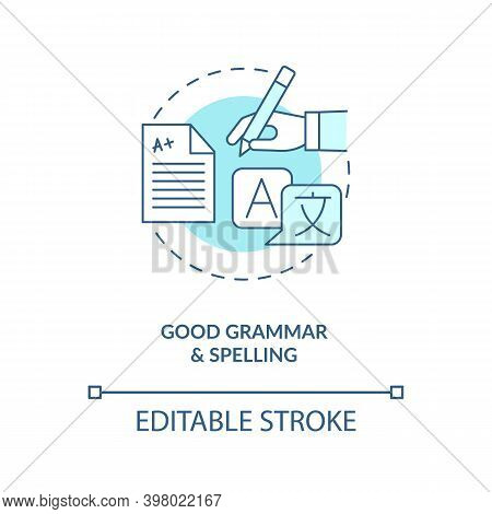Good Grammar And Spelling Turquoise Concept Icon. Copywriter, Professional Editor. Virtual Assistant