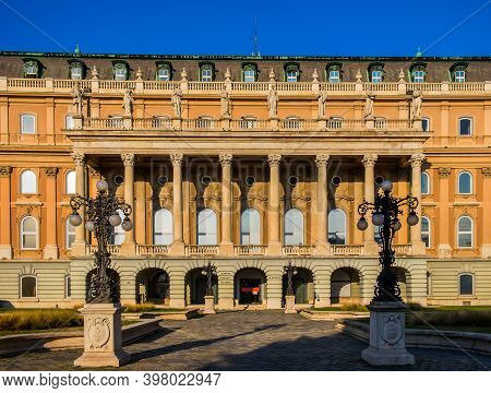 Budapest, Hungary, March 2020, View Of The Facade Of The Hungarian National Gallery Located In Buda