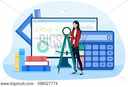Math School Online Service Or Platform. Learning Mathematics, Education And Knowledge Abstract Conce