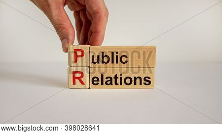 Pr Symbol. Wood Cubes And Blocks With Words 'pr, Public Relations' On White Background, Copy Space.