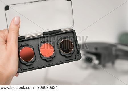 Close Up Of Neutral Density Filters Or Nd Filters And Polarising Filters Set For Drone. Filters For