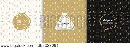 Vector Golden Geometric Seamless Patterns With Modern Minimal Labels, Stylish Frames. Elegant Gold T