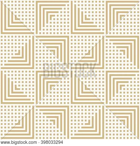 Golden Vector Geometric Seamless Pattern With Lines, Stripes, Squares, Arrows, Repeat Tiles. Simple
