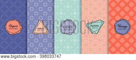 Vector Geometric Seamless Patterns. Collection Of Background Swatches With Elegant Minimal Labels.