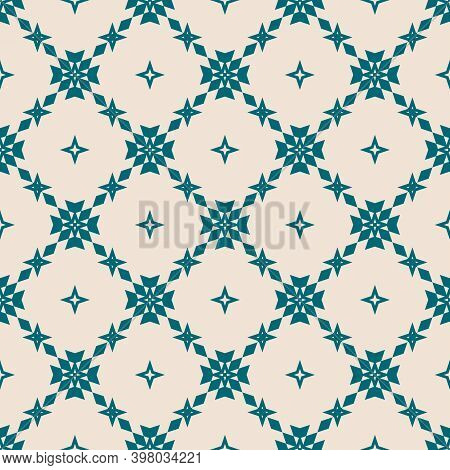Floral Grid Seamless Pattern. Abstract Geometric Texture. Simple Vector Teal And Beige Ornament With