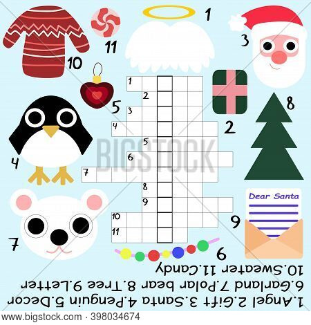Winter Crossword For Kids Stock Vector Illustration. Amusing Crossword With Santa Claus, Penguin, Po