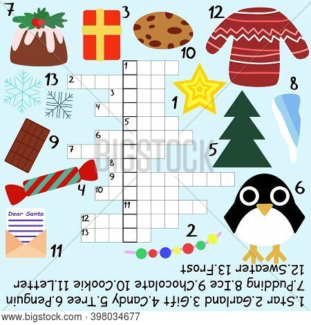 Big Children Crossword For Christmas Time Stock Vector Illustration. Funny Educational Word Game Wit