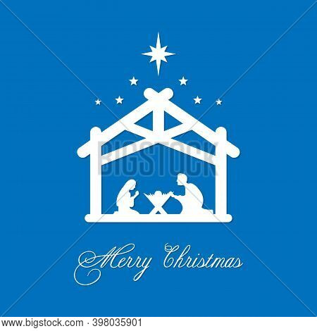 Merry Christmas Card. Mary And Joseph Bowed To The Newborn Savior In A Stable. Vector Illustration E