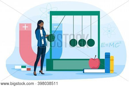 Physics School Subject Concept. Scientist Explore Electricity, Magnetism, Light Wave And Forces. The