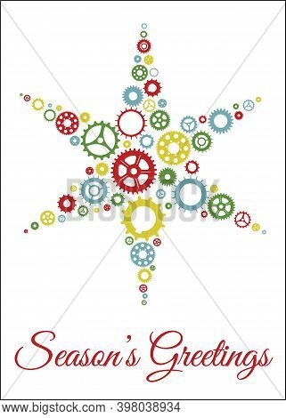 Christmas Card With Gears | Season's Greeting Holiday Card (5in X 7in) | Cogwheels And Gears Form A