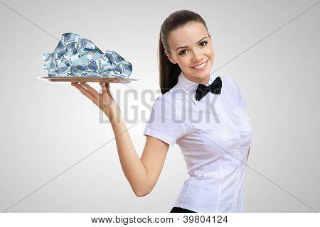 Waitress holding a tray with money