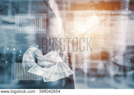Businessman With Money In Hand, Us Dollar (usd) Bills - Investment, Success And Profitable Business
