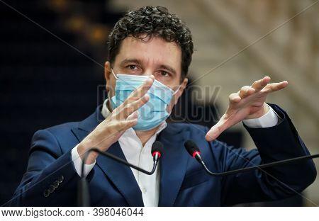Bucharest, Romania - November 28, 2020: Nicusor Dan, Mayor Of Bucharest, Speak In A Press Conference