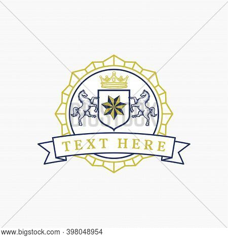 Coat Of Arm Two Horse And Star Round Emblem Insignia Design Template