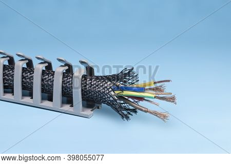 Cable Trays. Cable Routing System. Cable Insulation And Braid. Electrician. Copy Space.