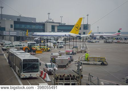Frankfurt Am Main, Germany - December 31, 2014: Gloomy December Day On The International Airport Of