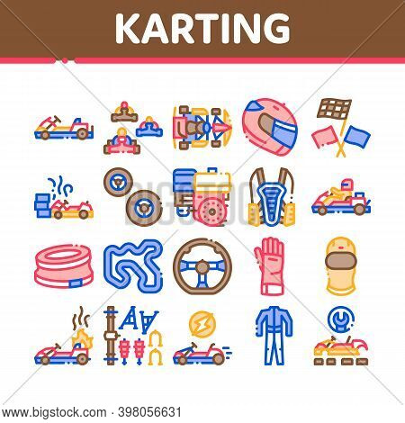 Karting Motorsport Collection Icons Set Vector. Karting Race And Track, Kart Engine And Steering Whe