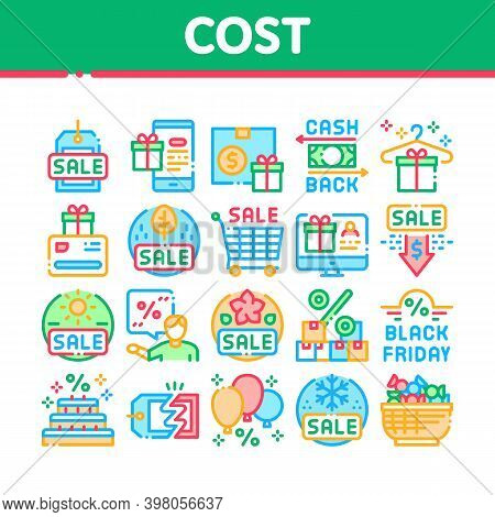 Cost Reduction Sale Collection Icons Set Vector. Winter And Summer Seasonal Cost Reduction, Discount