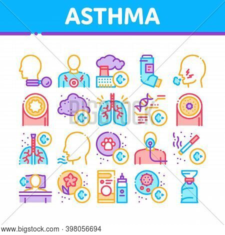 Asthma Sick Allergen Collection Icons Set Vector. Asthma Allergy On Animal And Smoke, Flowers, Facto