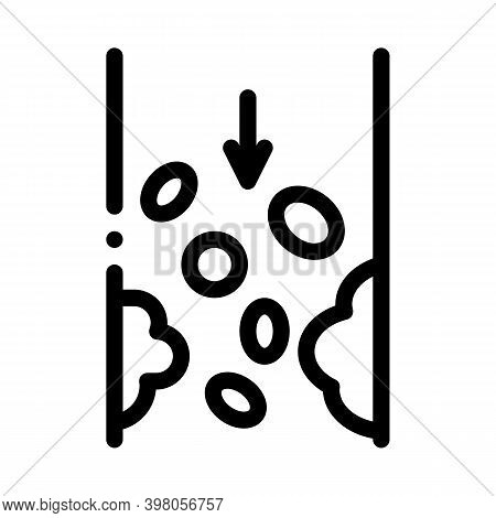 Atherosclerosis Vessel Problem Black Icon Vector. Atherosclerosis Vessel Problem Sign. Isolated Symb