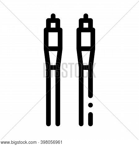 Cables Optical Fiber Black Icon Vector. Cables Optical Fiber Sign. Isolated Symbol Illustration