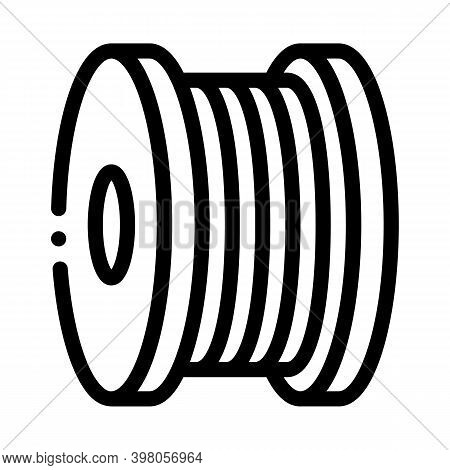 Bobbin Fiber Black Icon Vector. Bobbin Fiber Sign. Isolated Symbol Illustration