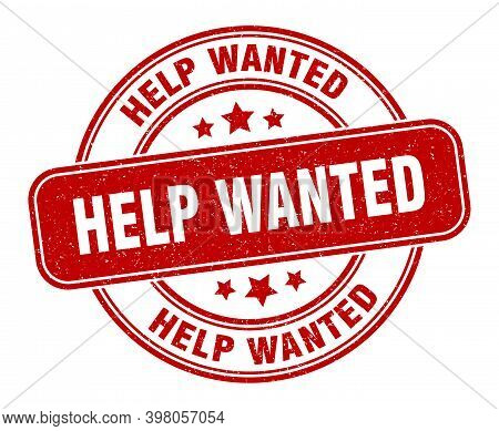 Help Wanted Stamp. Help Wanted Label. Round Grunge Sign