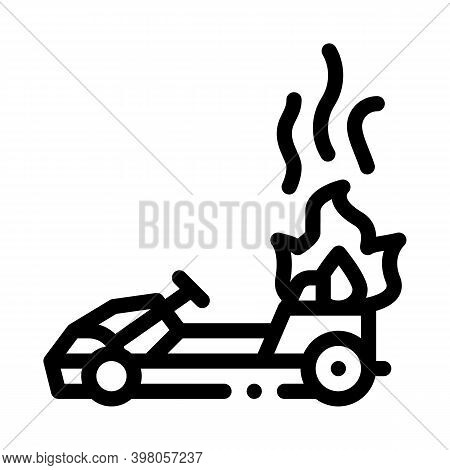 Burning Kart, Fire Accident Black Icon Vector. Burning Kart, Fire Accident Sign. Isolated Symbol Ill