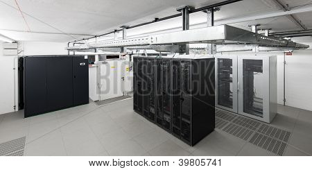 wide angle view of small air conditioned computer room