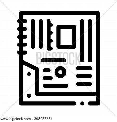 Mainboard Motheboard Computer Part Black Icon Vector. Mainboard Motheboard Computer Part Sign. Isola