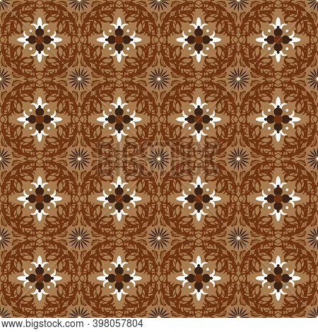 Unique Circle Motifs On Bantul Batik With Good Brown Color Design.