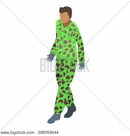 Military Uniform Green Camo Icon. Isometric Of Military Uniform Green Camo Vector Icon For Web Desig
