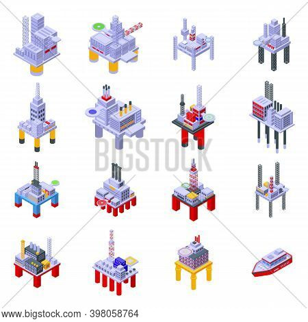 Sea Drilling Rig Icons Set. Isometric Set Of Sea Drilling Rig Vector Icons For Web Design Isolated O