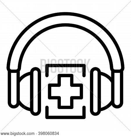 Headphones Pharmacy Icon. Outline Headphones Pharmacy Vector Icon For Web Design Isolated On White B