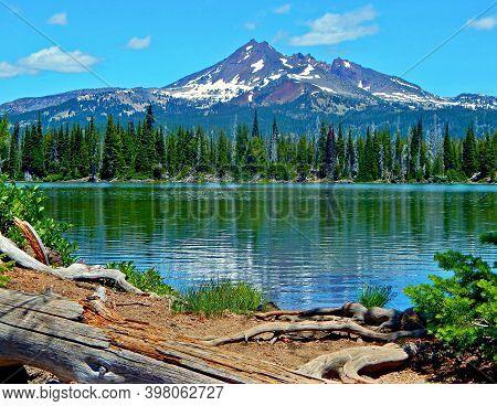 Alpine Wonder - A View Looking Across Sparks Lake Toward Broken Top Peak - Cascade Range - Near Bend