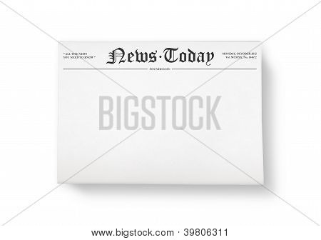 """A stack of newspapers with headline """"News Today"""" and blank space for information. Top view shot. Isolated on white. poster"""