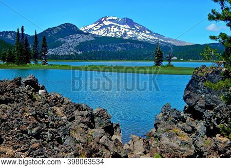 Snow Capped Sister - A View Of South Sister Peak At Sparks Lake - Cascade Range - Near Bend, Or