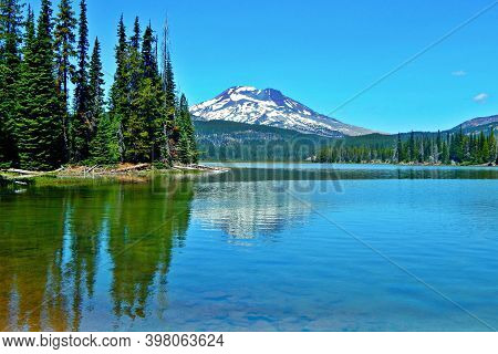 Sister Reflections - A View Of South Sister Peak At Sparks Lake - Cascade Range - Near Bend, Or