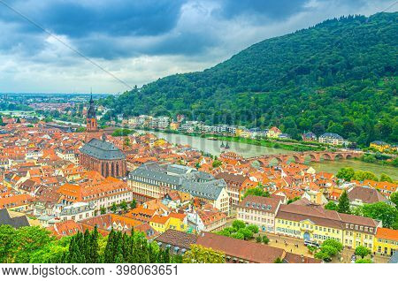 Aerial Panoramic View Of Heidelberg Old Town Historical Centre With Church Of Holy Spirit Heiliggeis