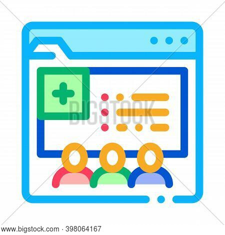 Medical Web Site Visiting People Color Icon Vector. Medical Web Site Visiting People Sign. Isolated